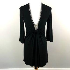 SKY Brand Mini Dress S Ruched V-Neck Rhinestone